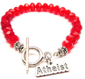 Atheist Crystal Toggle Bracelet in Crimson Red