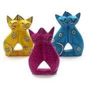 Kenya Soapstone Hugging Kitties - Various Colours