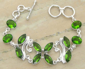 Genuine Peridot 925 Sterling Silver Overlay Handmade Fashion Bracelet Jewellery