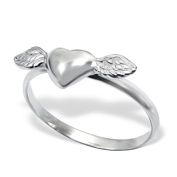 Silver Winged Heart Plain Ring