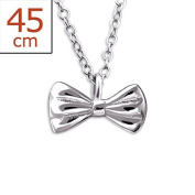 Silver Bow Tie Necklace