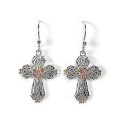 Jody Coyote Grace Pink Cubic Zirconia Cross Earrings GRA-0714-02