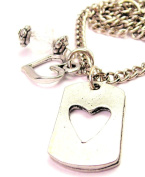 Dog Tag With Open Heart 46cm Pendent Necklace