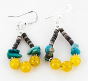 $70 Retail Tag Authentic Made By Charlene Little Navajo .925 Sterling Silver Hooks Natural Turquoise Agate Heishi HOOP Native American Earrings
