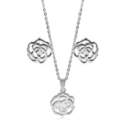 Stainless Steel Pendant Earring Set Flower Design Silver Colour Polished .