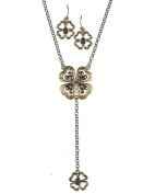 Two-Tone Lucky Clover Charm Pendant Necklace & Earring Set - Jewellery Nexus
