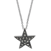 Aura by TJM 925 Sterling Silver 0.156 cttw Pyramid-cut Marcasite Pendant in 46cm chain