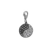 Aura by TJM 925 Sterling Silver Yin-Yang Charm set with 0.168 cttw Pyramid-cut Marcasite & 0.164 cttw Facet-cut White Crystal