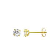10K Yellow Gold 0.86 Cttw Round Cubic Zirconia (CZ) Double Basket Push Back Stud Earrings