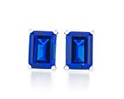 Acacia Jewellery 3.00 Carat (ctw) Octagon Shape Diamond Cut 8x6mm Blue Sapphire Colour Nano Gems 925 Sterling Silver Heavy Mounting Stud Earrings Rhodium Plated