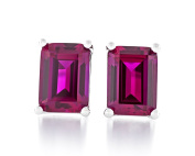 Acacia Jewellery 2.50 Carat (ctw) Octagon Shape Diamond Cut 7.5x5.5mm Created Ruby 925 Sterling Silver Heavy Mounting Stud Earrings Rhodium Plated