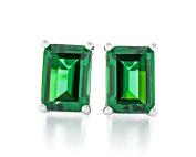 Acacia Jewellery 3.00 Carat (ctw) Octagon Shape Diamond Cut 8x6mm Emerald Green Colour Nano Gems 925 Sterling Silver Heavy Mounting Stud Earrings Rhodium Plated