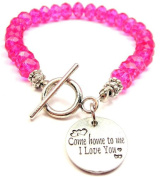 Come Home To Me I Love You Hot Pink Crystal Beaded Toggle Bracelet