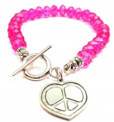 Heart Peace Sign Hot Pink Crystal Beaded Toggle Bracelet
