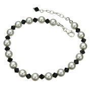 Elements Crystals and Simulated Pearls Sterling Silver Bracelet, 18cm +2.5cm Extender