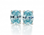 Acacia Jewellery 2.50 Carat (ctw) Oval Shape Fancy Diamond Cut Aquamarine Colour 7.5x5.5mm Crystal CZ 925 Sterling Silver Heavy Mounting Stud Earrings Rhodium Plated