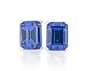 Acacia Jewellery 2.00 Carat (ctw) Octagon Shape Diamond Cut Tanzanite Colour 7x5mm Crystal CZ 925 Sterling Silver Heavy Mounting Stud Earrings Rhodium Plated