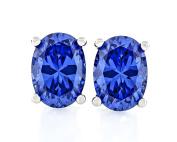 Acacia Jewellery 2.50 Carat (ctw) Oval Shape Fancy Diamond Cut Tanzanite Colour 7.5x5.5mm Crystal CZ 925 Sterling Silver Heavy Mounting Stud Earrings Rhodium Plated