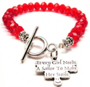 Every Girl Needs a Sailor to Make Her Smile Red Crystal Beaded Toggle Bracelet