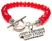 Adopt a Greyhound Adopt a Friend Red Crystal Beaded Toggle Bracelet