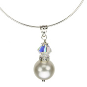 Elements Crystal Simulated Pearl Pendant Sterling Silver Thin Omega Necklace
