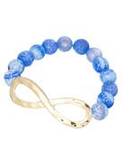 Glass Beads & Goldtone Hammered Infinite Infinity Stretch Bracelet by Jewellery Nexus