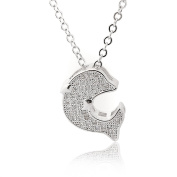 Spinningdaisy Silver Plated Pave Cubic Zirconia Jumping Dolphin Necklace