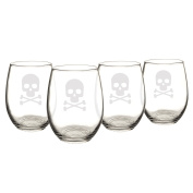 Cathy's Concepts Skull and Crossbones Stemless Wine Glasses, Set of 4, Clear