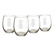 Cathy's Concepts Pineapple Stemless Wine Glasses