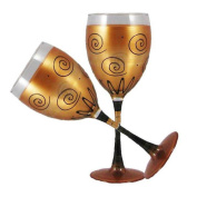 Golden Hill Studio Wine Glasses Hand Painted in the USA by American Artists-Set of 2-Gold Curl Lodge Collection