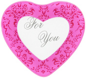 """Artisano Designs """"Pretty in Pink"""" Heart Glass Photo Coasters, Set of 2"""