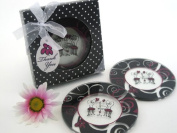 """Artisano Designs """"Bistro for Two"""" Round Glass Coaster Favours in Designer Gift Box, Set of 2"""