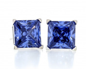 Acacia Jewellery 2.50 Carat (ctw) Square Shape Princess Cut Tanzanite Colour 6x6mm Crystal CZ 925 Sterling Silver Heavy Mounting Stud Earrings Rhodium Plated