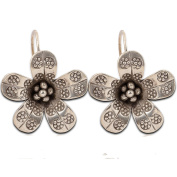 Flower Thailand Handmade Earrings Karen Hilltribe Pure Silver