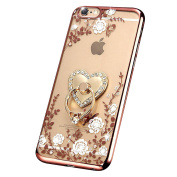 iPhone 7 Case, PHEZEN iPhone 7 TPU Case Luxury Bling Diamond Crystal Clear Rose Plating Soft TPU Silicone Back Cover with Ring Stand for 12cm iPhone 7, White Butterfly Flower