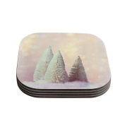 """Kess InHouse Sylvia Cook """"Bottle Brush Trees"""" Pink Coasters, 10cm by 10cm , Green/Yellow, Set of 4"""
