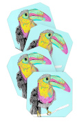 DENY Designs Casey Rogers Toucan Coasters, Set of 4