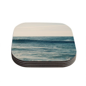 "Kess InHouse Myan Soffia ""Balance"" Blue Tan Coasters, 10cm by 10cm , Blue/Brown, Set of 4"