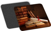Rikki Knight Pile of Old Books with Glasses on Desk Design SoSquare ft Beer Coasters (Set of 2), Multicolor