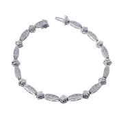 1.60 Carat Diamond Fancy Shaped Link 14K White Gold Bracelet