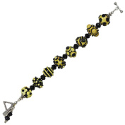 Sterling Silver Yellow and Black Lampwork Glass Bead Bracelet