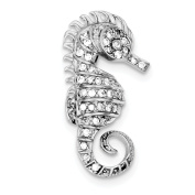 Sterling Silver Rhodium-plated CZ Seahorse Pin