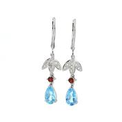 Diamond Dangle Earrings, 14kt White gold Diamond & Blue Topaz & Garnet Dangle Earrings, D-0.20 TCW, BT-0.60 TCW