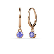 Tanzanite Bezel Set Solitaire Dangling Earrings 0.50 ct tw in 14K Rose Gold