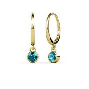 London Blue Topaz Bezel Set Solitaire Dangling Earrings 0.60 ct tw in 14K Yellow Gold