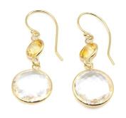 Amethyst Pink & Citrine Dangle Earrings,14K Yellow Gold Earwire
