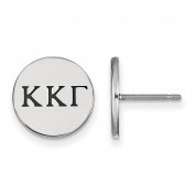 925 Sterling Silver Rhodium-plated Kappa Kappa Gamma Sorority Enamelled Circle Post Earrings