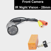 Car Auto Front View Camera IR Night Vision 28mm Hole Drilling Forward Non-Mirrorred Image Without Grid Lines Normal Unreversed Blind Spot Display Flush Mount