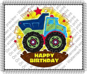 1/2 Sheet - Happy Birthday Truck - Edible Cake/Cupcake Party Topper!!!