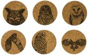 Corkology Owls Coaster Set, Cork
